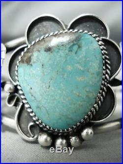 Rare Blue Diamond Turquoise Vintage Navajo Sterling Silver Bracelet