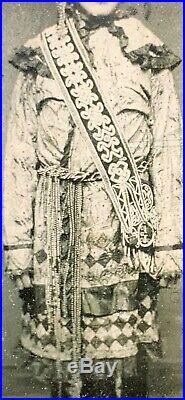 Rare C1875 Maine Tintype Of White Man In Native American Penobscot Festival Garb