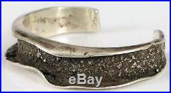 Rare Charles Loloma Native American Hopi Sterling Silver Tufa Cast Cuff Bracelet