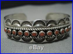 Rare Charley Family Vintage Navajo Coral Sterling Silver Cuff Bracelet