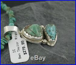 Rare Deliciae $460Tag Silver Navajo KINGMAN Turquoise Native American Necklace
