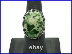 Rare Demale Green Nevada Turquoise Navajo Sterling Silver Vintage Ring