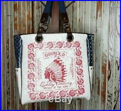 Rare Double D Ranch Tote Bag Patriotic Native American Quilted Studded Flag