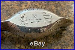 Rare Durgin Figural Native American Indian Birch Bark Canoe Salt Dish C. 1885