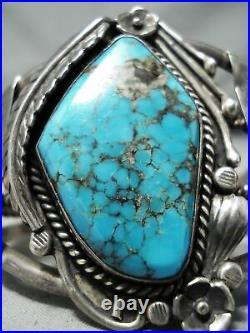 Rare Earlier Vintage Navajo Morenci Turquoise Sterling Silver Bracelet