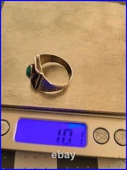 Rare Ejt Ernest J. Trujillo Navajo Sterling Silver & Turquoise Mens Ring Sz 11