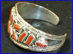 Rare Elegant Navajo Sterling Silver Red Coral Bracelet Native American Dead Pawn