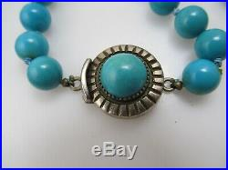 Rare Frank Patania Thunderbird Turquoise Beaded Necklace Sterling Silver Vintage