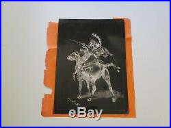 Rare Frederick Remington Print Native American Cowboy Desert Landscape Horses