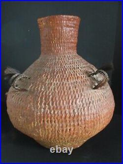 Rare Giant Vintage Native American Navajo Pine Pitch Water Jug Basket 16