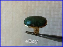 Rare Girl Vtg Fancy Gift30s Old Pawn Navajo 14k Gold Green Turquoise RingSz4.5