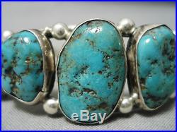 Rare Graduating Turquoise Vintage Navajo Sterling Silver Bracelet Old
