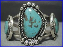 Rare Green Old Morenci Turquoise Vintage Navajo Sterling Silver Bracelet Old