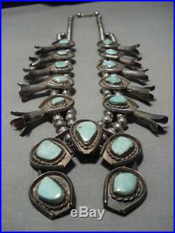 Rare Hachita Turquoise Vintage Navajo Sterling Silver Squash Blossom Necklace