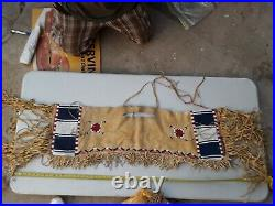 Rare Handmade BEADED Deer Hide Leather Saddle Blanket Native American Indian