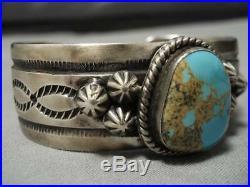 Rare High Grade Vintage Navajo Royston Turquoise Sterling Silver Bracelet Old