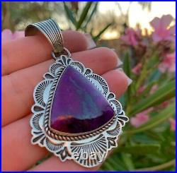 Rare High Quality Sugilite Pendant Handmade by Navajo Albert Jake 1001