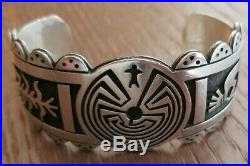Rare Hopi Puhuhoiya Sterling Kokopeli Man In Maze Cuff Bracelet 60 Grams
