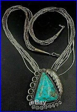 Rare Huge Signed Bennett Vintage Native American Ind Bolo Liquid Necklace-82g