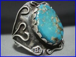 Rare Huge Turquoise Vintage Navajo Sterling Silver Bracelet For Smaller Wrist