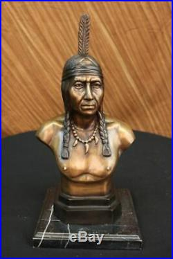 Rare Indian Native American Art Chief Eagle Bust Bronze Marble Statue Sculpture