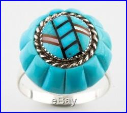 Rare Lee & Mary Weebothee Vintage Sterling Silver Turquoise Inlay Ring