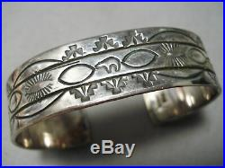 Rare Mary Morgan Vintage Navajo Hand Tooled Sterling Silver Bracelet