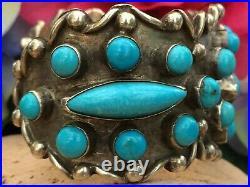 Rare Native American Navajo Sleeping Beauty Turquoise Sterling Cuff Bracelet