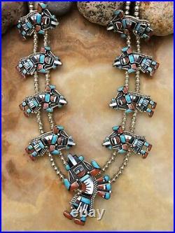 Rare Native American Zuni Rainbow Man Kachina Turquoise Squash Blossom Necklace