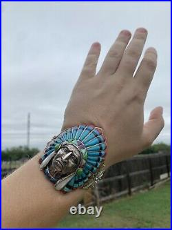 Rare! Navajo Indian Head Turquoise Opal Inlay Big Sterling Silver 925 Bracelet
