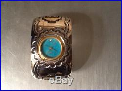 Rare Navajo Silversmith Tommy Singer Sterling Silver Turquoise Face Watch Cuff