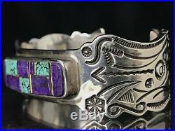 Rare Navajo Stampwork Turquoise Sugilite Daniel Zender Sterling Cuff Bracelet