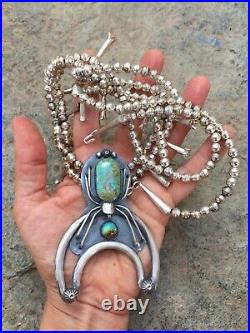 Rare Navajo Sterling Silver Signed Spider Woman Naja Squash Blossom Necklace