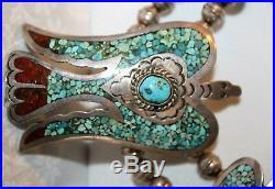 Rare Navajo Vintage Peyote Bird Squash Blossom Necklace Hand Signed J. Nelson