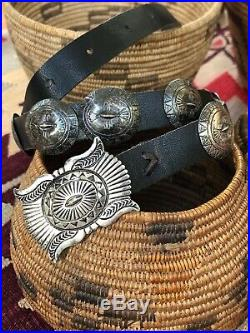 Rare Nice! Old Navajo Southwestern Vintage Sterling Silver Signed Concho Belt