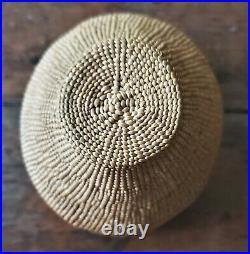 Rare Northern California Native American Karuk Yurok Hupa Lidded Pedestal Basket