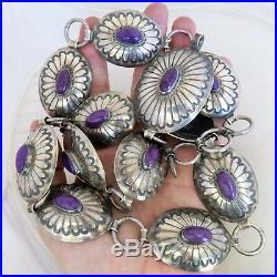 Rare ORVILLE TSINNIE Native American Sterling Silver Sugilite Concho Belt, 257g