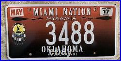 Rare Oklahoma Tribal License Plate Miami Nation Myaamia Native American Tag