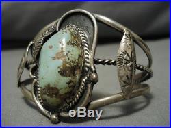 Rare Old Deposit Royston Turquoise Vintage Navajo Sterling Silver Bracelet Old