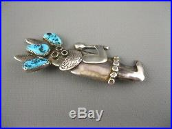 Rare Old Navajo Sterling Turquoise Mudhead Kachina Pin Brooch Ramone Platero Big