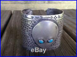 Rare Old Pawn Turquoise & Sterling Silver Shape-Shifter Cuff Bracelet