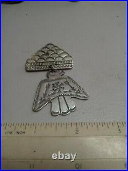 Rare Old Pawn Vintage Navajo Fred Harvey Sterling Thunderbird Pin With Cloud