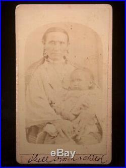 Rare Original Native American CDV Of Shell Crown Fort Reno, Indian Territory