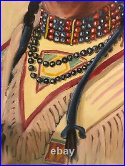 Rare Painting of Native American Two Guns White Calf by Elizabeth Lochrie