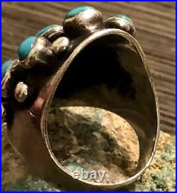 Rare Preston Monongye Hopi Sterling & Turquoise Ring Size 8.75 Early Made Piece