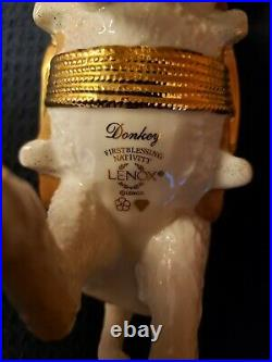 Rare Retired Lenox American Standing Donkey First Blessing Nativity Gold No Box
