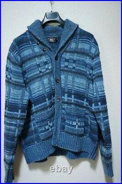Rare Rrl Blue Navy Melange Cardigan Patch Indigo XXL XX Large Native American