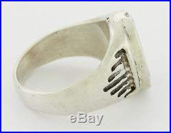 Rare Signed Dishta Multistone ZUNI Inlay Sterling Silver Heavy Men's Ring Sz 13