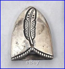 Rare Signed Navajo Herbert Taylor Sterling Silver Overlay Belt Buckle Set 101grm
