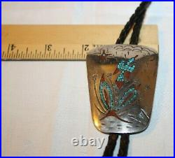 Rare Signed Tommy Singer T Sterling Silver Turquoise Bolo Tie Bennet Clasp C-31